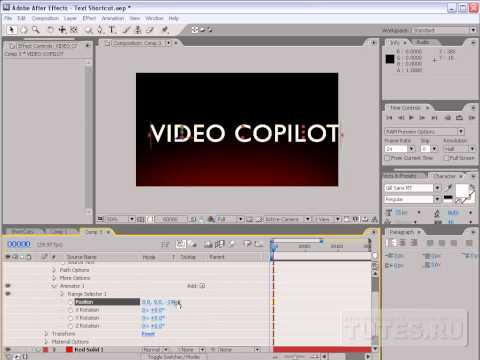 3D Зажигает текст урок Adobe after effects